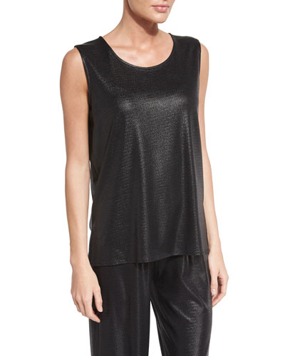 Scoop-Neck Liquid Luster Tank, Black