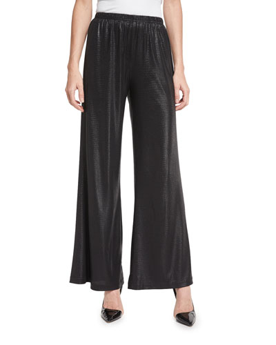 Elastic-Waist Liquid Luster Wide-Leg Pants, Black, Plus Size
