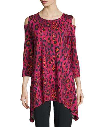 Latin Leopard Cold-Shoulder Tunic, Black/Multi