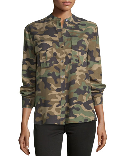 Anderson Camouflage-Print Silk Shirt