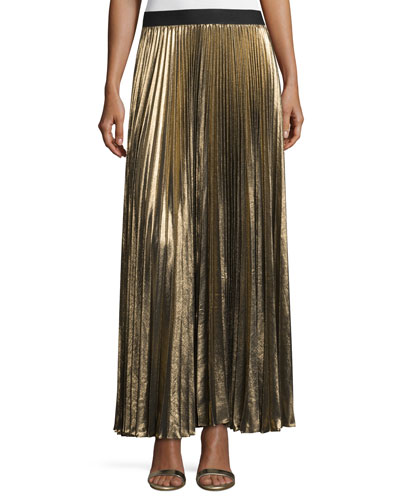 Dallin Metallic Plissé Maxi Skirt, Black/Gold