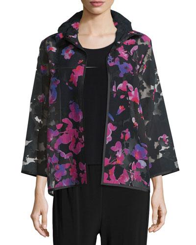 Petal Bracelet-Sleeve Burnout Jacket, Multi/Black, Plus Size