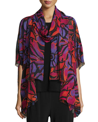 Samba Printed Half-Sleeve Cardigan, Black/Multi, Plus Size