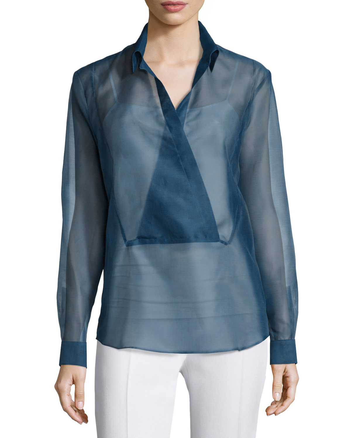 Long-Sleeve Wrap-Placket Blouse, Muslin