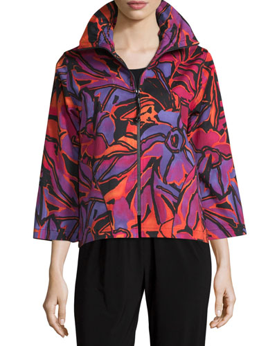 Samba Printed Zip-Front Jacket, Multi/Black, Plus Size