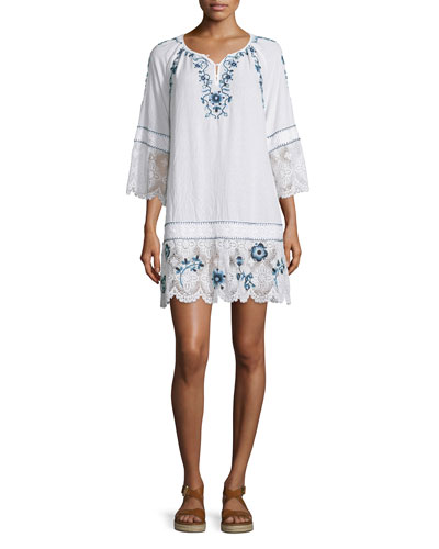 Tamtam 3/4-Sleeve Embroidered Dress, Coconut