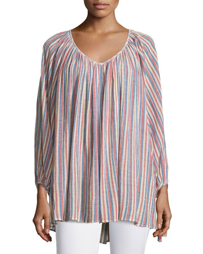 Damaya Bracelet-Sleeve Striped Top, Coconut