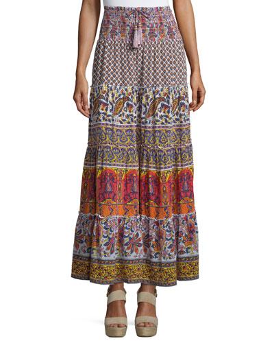 Denueve Mixed-Print Maxi Skirt, Saigon