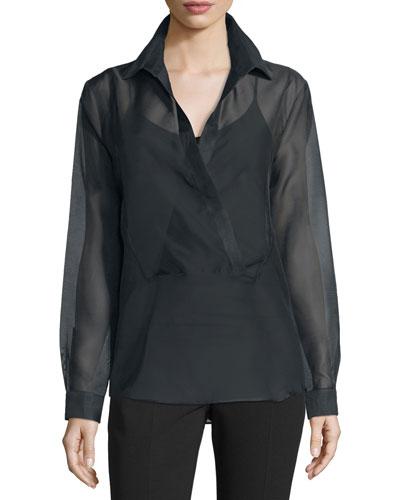Long-Sleeve Wrap Blouse, Black