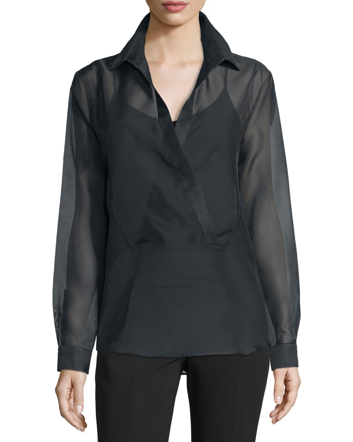 Long-Sleeve Wrap Blouse, Black