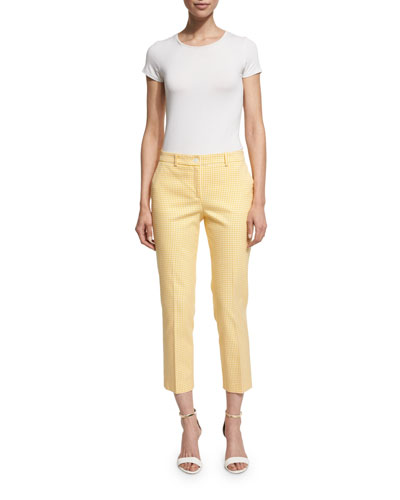 Gingham Straight-Leg Cropped Pants, Daffodil