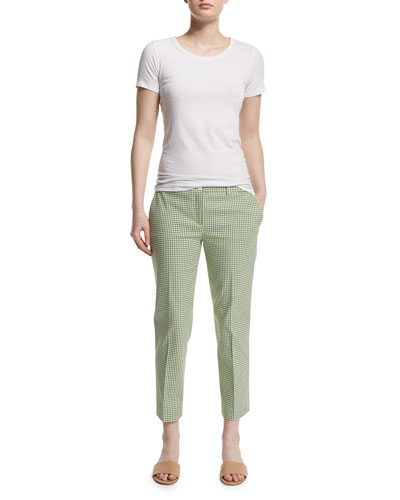 Straight-Leg Gingham Cropped Pants, Lawn