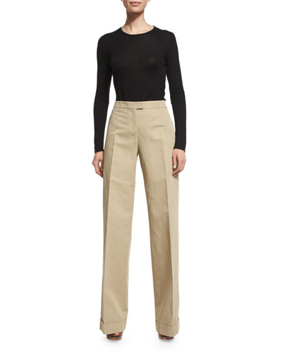 High-Waist Wide-Leg Pants, Sand