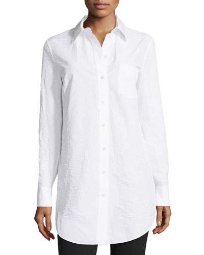 Button-Front French-Cuff Tunic, Optic White