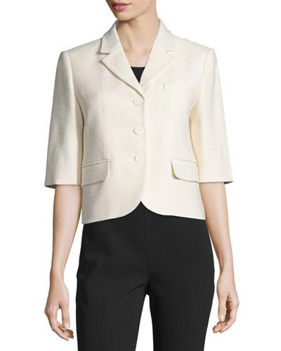 Half-Sleeve Button-Front Jacket, Muslin