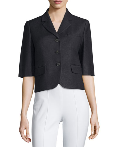 Half-Sleeve Button-Front Jacket, Black