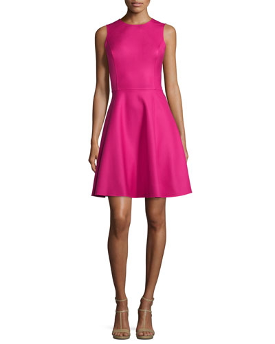 Sleeveless Fit-&-Flare Dress, Geranium