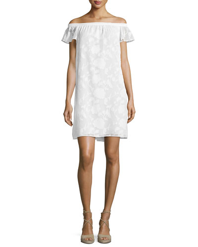 Victoria Off-The-Shoulder Shift Dress, White