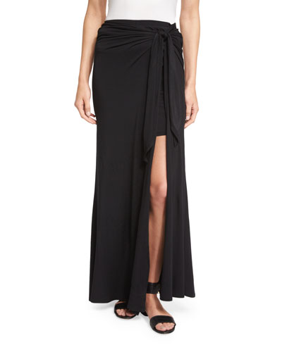Bella Tie-Waist Maxi Skirt, Black