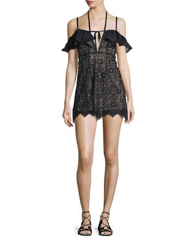 Rosemary Cold-Shoulder Lace Mini Dress, Black