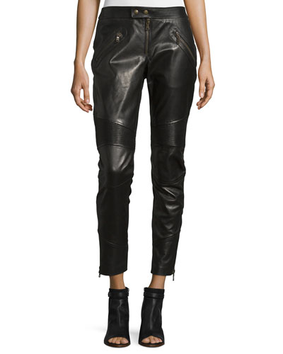 Leather Cropped Moto Pants, Nero