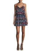Sleeveless Popover Mini Dress, Border Floral