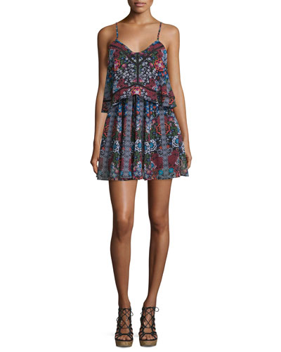 Sleeveless Popover Mini Dress, Border Floral