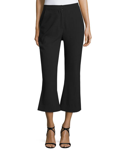 Paneled Flare-Leg Cropped Pants, Black