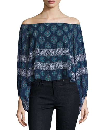 Off-The-Shoulder Balloon-Sleeve Top, Temple Print