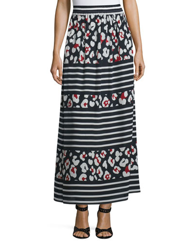 Floral-Print Striped Silk Maxi Skirt