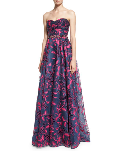 Strapless Sweetheart Floral Embroidered Ball Gown, Navy