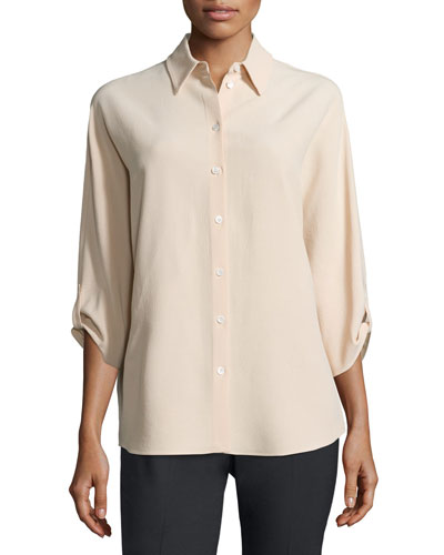 3/4-Sleeve Button-Front Blouse, Nude