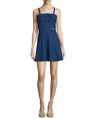 Athena Sleeveless Lace-Up Dress, Stealth