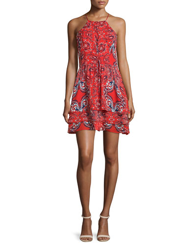 Dax Sleeveless Printed Dress, Flare Bandana
