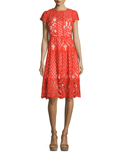 Talulah Cap-Sleeve Lace Dress, Flare