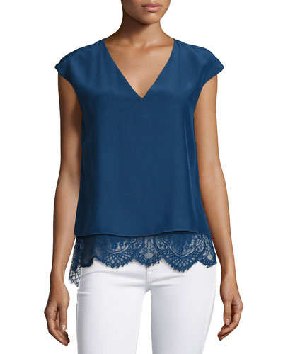 Marilena Cap-Sleeve Lace-Hem Top, Stealth