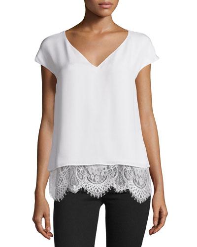 Marilena Cap-Sleeve Lace-Hem Top, Ivory