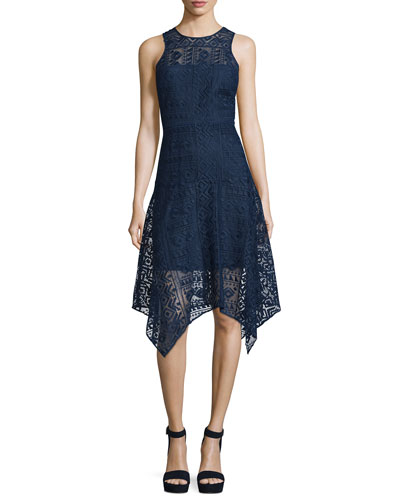 Melissa Handkerchief-Hem Lace Dress, Stealth