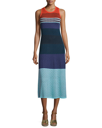 Rosie Sleeveless Colorblock Midi Dress, Multi Colors