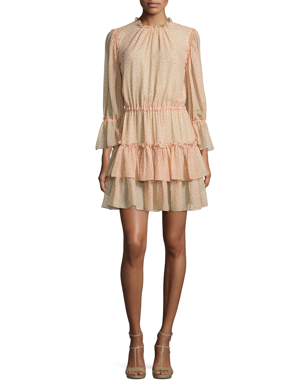 Long-Sleeve Tiered Ruffle Dress, Nude/Leaf/Oleander