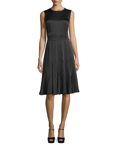 Sleeveless Godet-Pleated Dress, Black