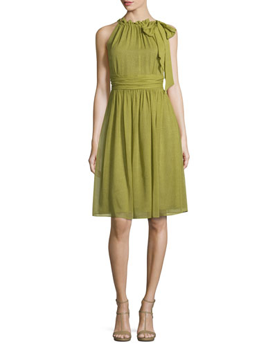 Sleeveless Halter-Neck Dress, Leaf/Multi