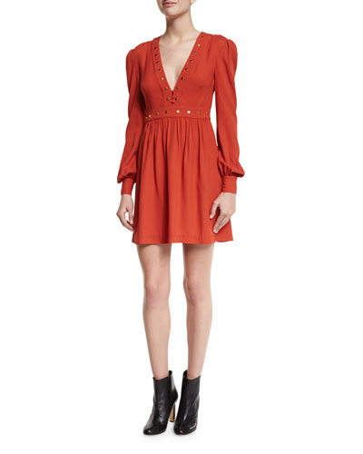 Neda Studded Long-Sleeve Dress