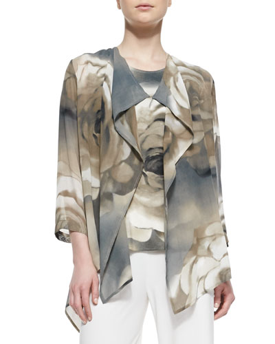 Draped Watercolor Rose-Print Jacket, Petite