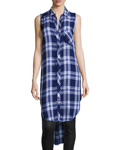 Jordyn Plaid Sleeveless High-Low Tunic, Midnight Cobalt