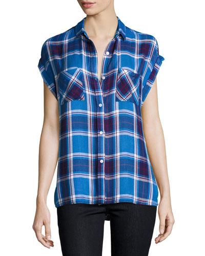 Britt Plaid Cap-Sleeve Shirt, Santorini/Royal