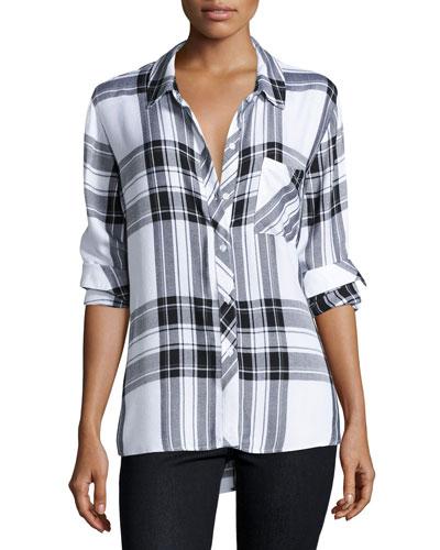 Hunter Plaid Long-Sleeve Shirt, White/Graphite