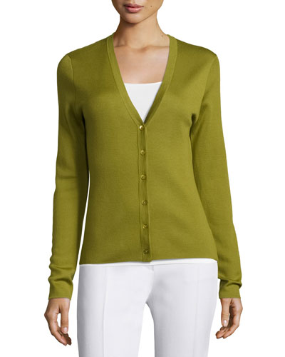 Long-Sleeve Cashmere Cardigan, Leaf