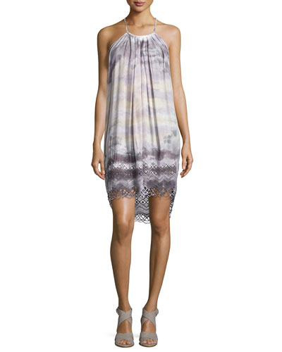 Trischa Tie-Dye Racerback Mini Dress, Charcoal Water
