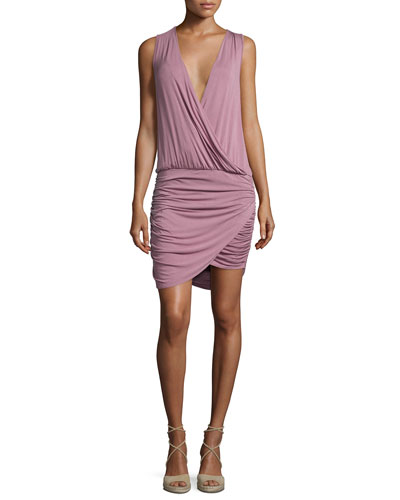 Stacey Ruched-Side Sleeveless Jersey Dress, Raisin
